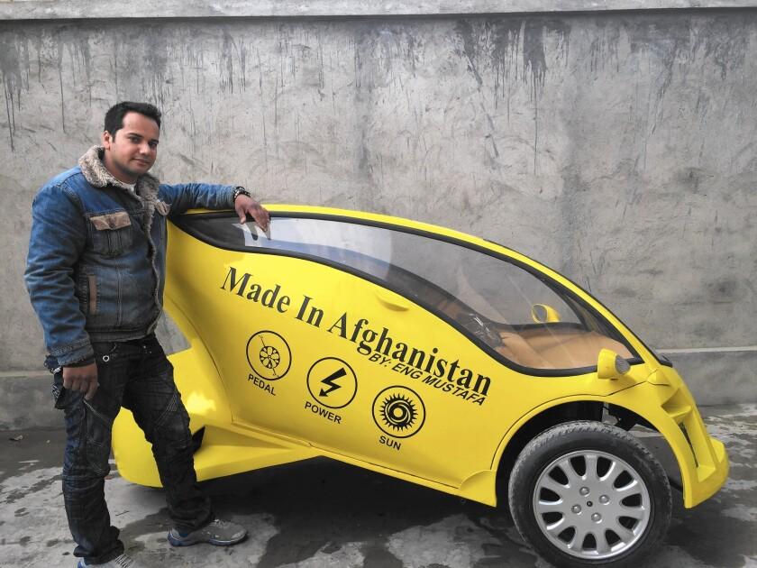 Mustafa Mohammadi of Kabul, Afghanistan, a self-trained engineer, has built a solar-powered motorbike.