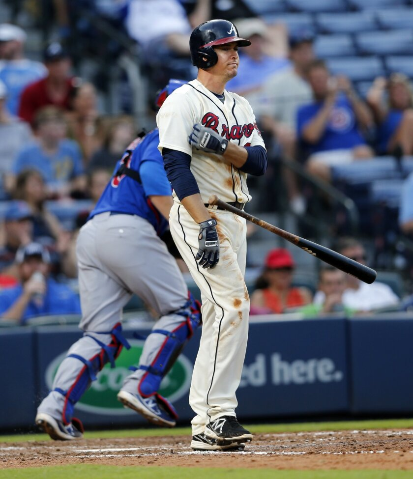 Atlanta Braves' Kelly Johnson (24) throws his bat after striking out to end the sixth inning of a baseball game against the Chicago Cubs Sunday, July 19, 2015, in Atlanta. Chicago won 4-1. (AP Photo/John Bazemore)