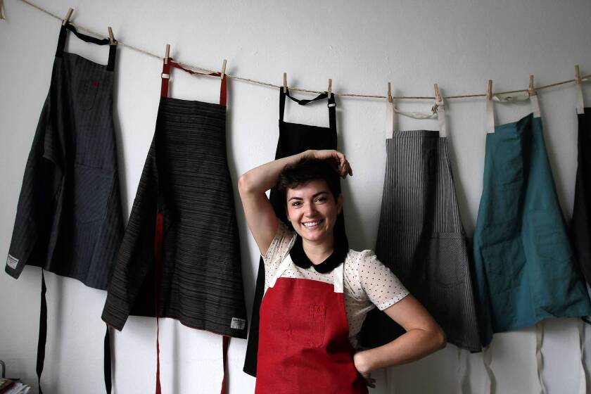 Ellen Bennett, 25, is the founder of Hedley & Bennett apron company in Los Angeles. She's also a part-time cook at Providence.