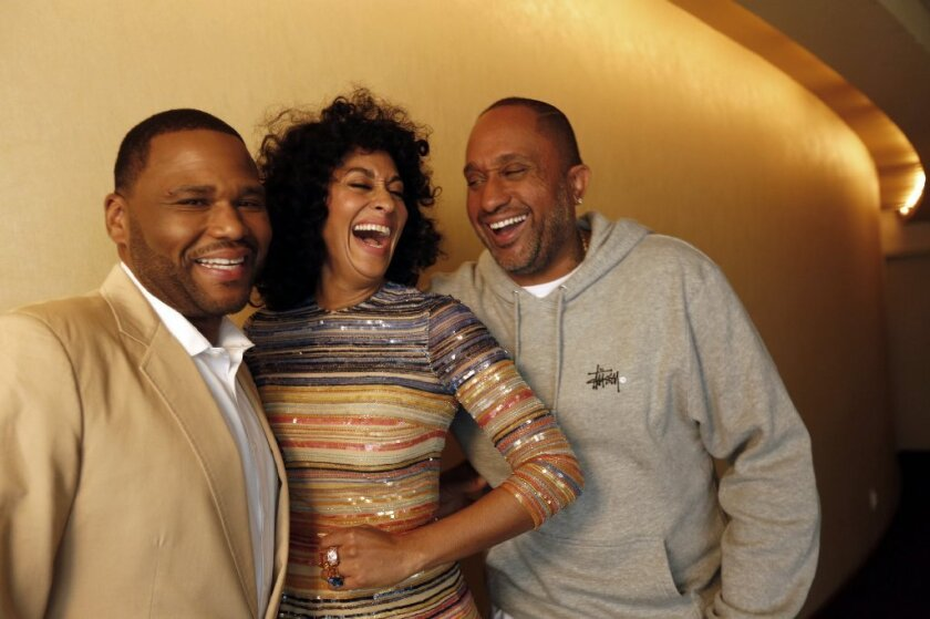"Anthony Anderson, left, Tracee Ellis Ross and Kenya Barris are all nominated for NAACP Image Awards for ""black-ish,"" which got 12 nominations in all."