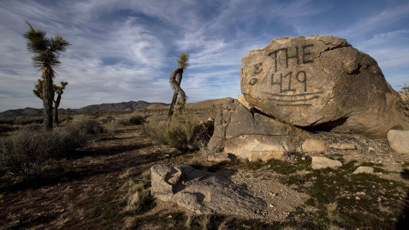 JOSHUA TREE, CA - JANUARY 8, 2019: A rock has been vandalized with graffiti in Joshua Tree National