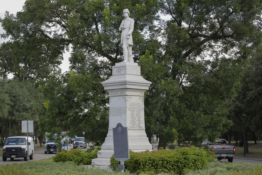 """The statue of Confederate artillery commander Richard W. """"Dick"""" Dowling statue sits in Hermann Park in Houston."""