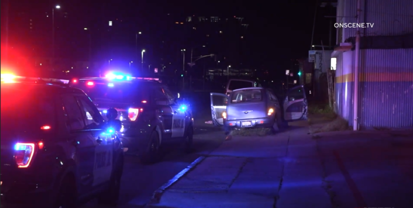 Chula Vista police arrested a woman after a slow-speed pursuit ended in Barrio Logan early Thursday.