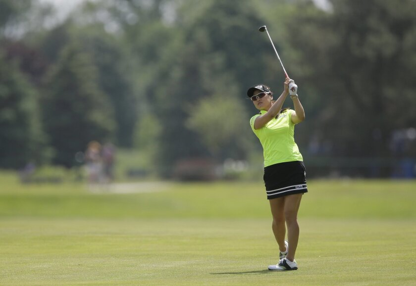 So Yeon Ryu, of South Korea, hits from the sixth fairway during the third round of the LPGA Volvik Championship golf tournament at the Travis Pointe Country Club, Saturday, May 28, 2016, in Ann Arbor, Mich. (AP Photo/Carlos Osorio)