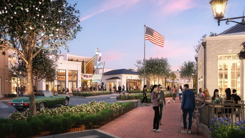 Architects renderings of the $200 million redevelopment of the Pacific Palisades town center called