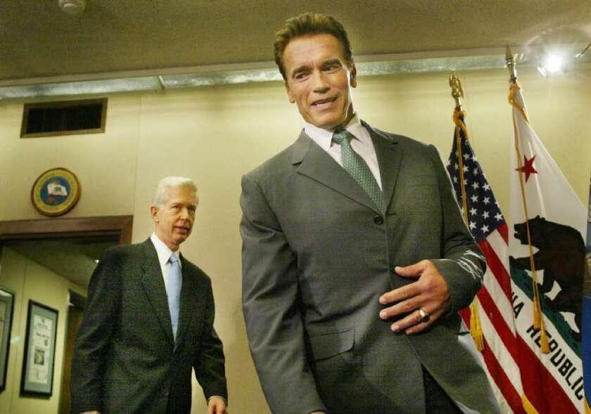 Then-Gov.-elect Arnold Schwarzenegger and Gov. Gray Davis, seen above in October 2003 shortly after the recall election, meet in Sacramento.