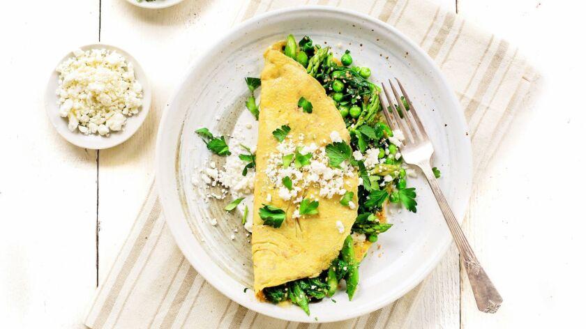 Dukkah Spiced Spring Vegetable Omelet With Feta.