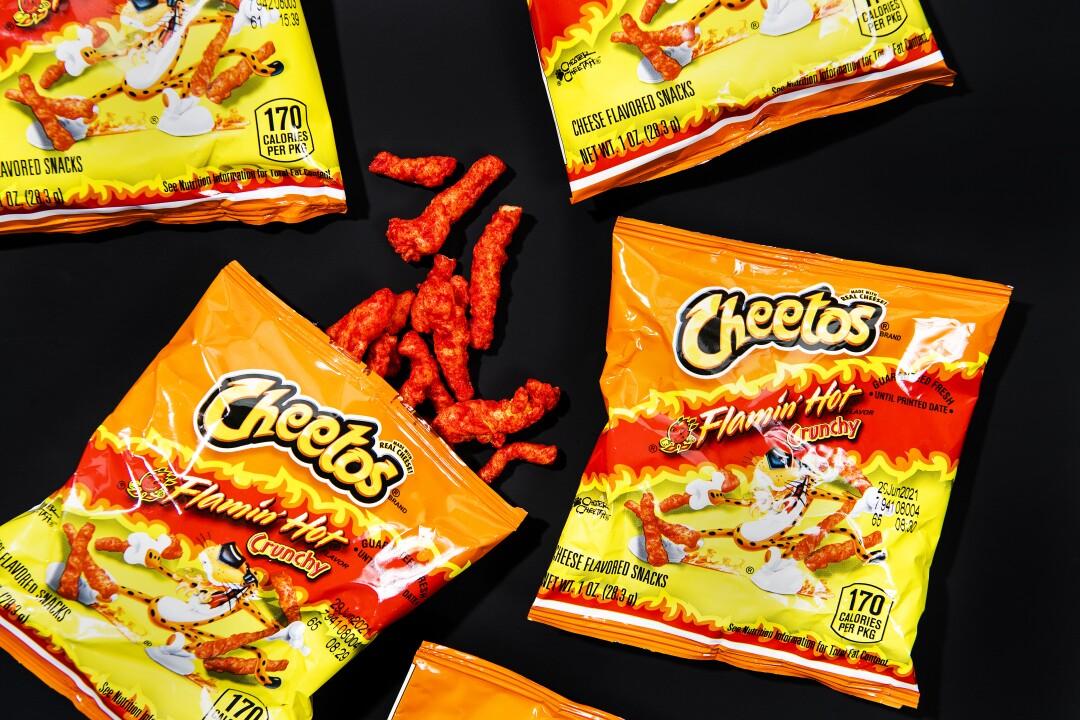 Bags of Flamin' Hot Cheetos