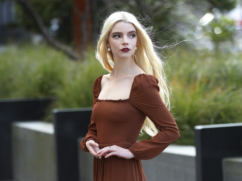 Anya Taylor-Joy poses for a portrait in Belfast's Titanic area in Northern Ireland on Tuesday, Oct. 6, 2020. Taylor-Joy has been named one of The Associated Press' Breakthrough Entertainers of 2020. (AP Photo/Peter Morrison)
