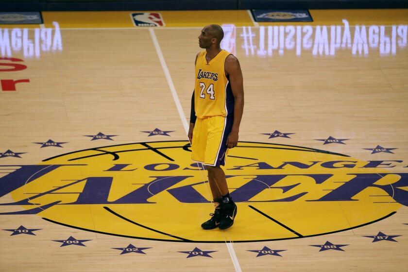 Forward Kobe Bryant plays his last game as a Los Angeles Laker against the Utah Jazz.