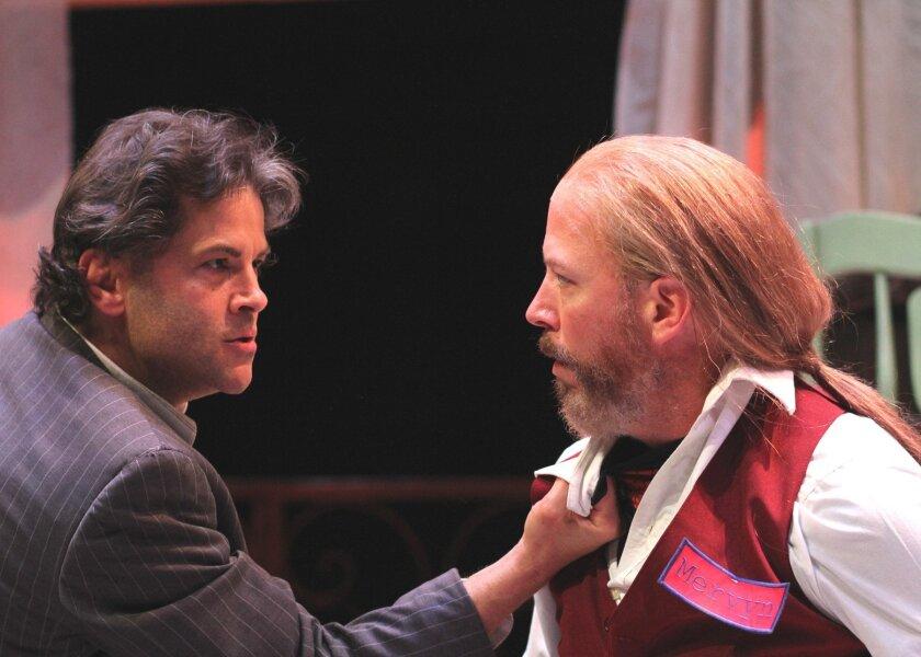 Carmichael (Jeffrey Jones) gives hotel clerk Mervyn (Mike Sears) a rough time in Cygnet's 'A Behanding in Spokane' by Martin McDonagh. Photo: Daren Scott