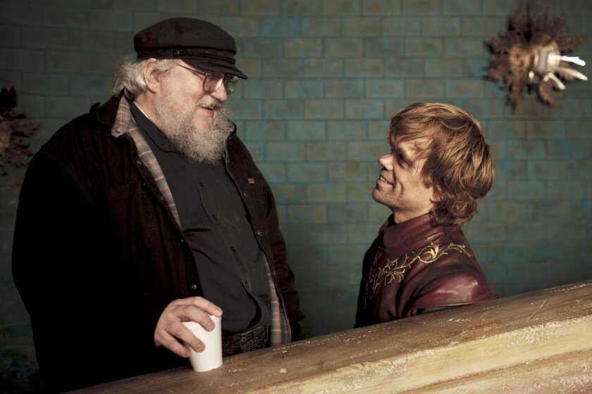 """Author George R. R. Martin (left) and actor Peter Dinklage (right). Dinklage plays Tyrion Lannister on """"Game of Thrones,"""" the hit HBO show based on Martin's epic fantasy series."""