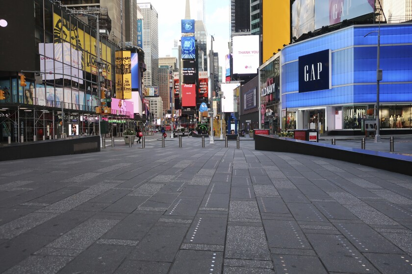 Manhattan's nearly empty Times Square