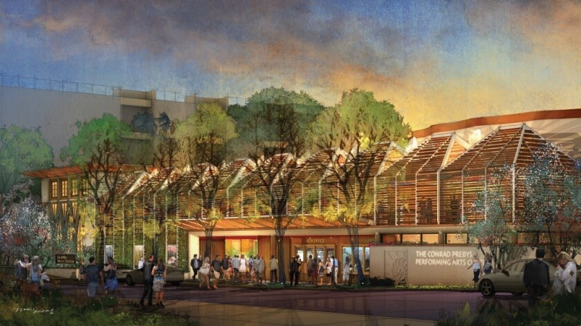 An artist's rendering of The Conrad Prebys Performing Arts Center, aka The Conrad, located at 7600 Fay Ave.