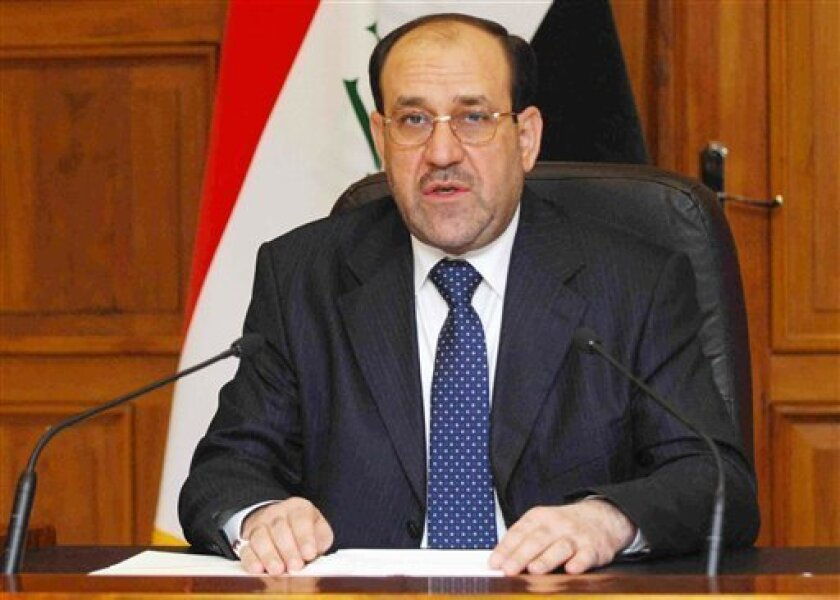 In this Tuesday, Nov. 18, 2008 file image released by the Iraqi government, Prime Minister Nouri al-Maliki makes a televised statement from his office in Baghdad, Iraq. Parliament's approval of a security pact with the U.S. has propelled al-Maliki into a position of strength unequaled in Iraq since the fall of Saddam Hussein. (AP Photo/Iraqi Government, File)