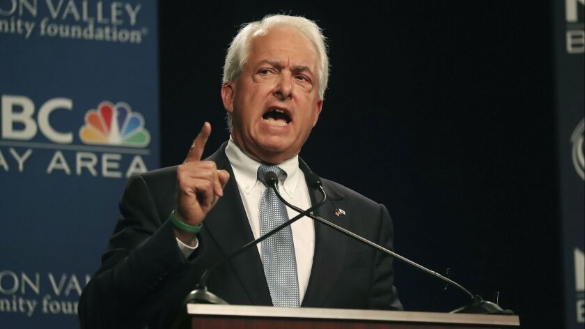 Republican gubernatorial candidate John Cox speaks during a debate at the California Theatre, Tuesda