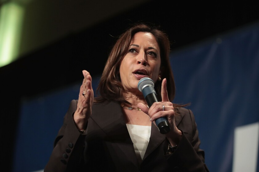 Democratic presidential candidate and California senator Kamala Harris
