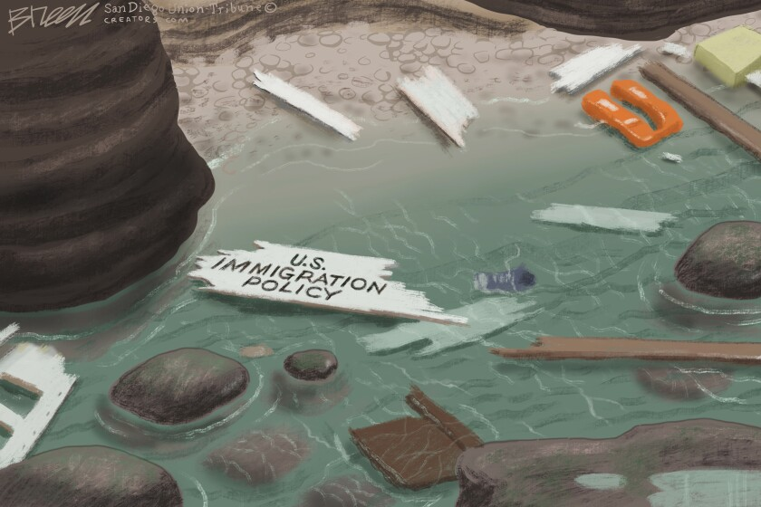 "Debris on the rocky shore is labeled ""US Immigration Policy"" in this Breen cartoon"