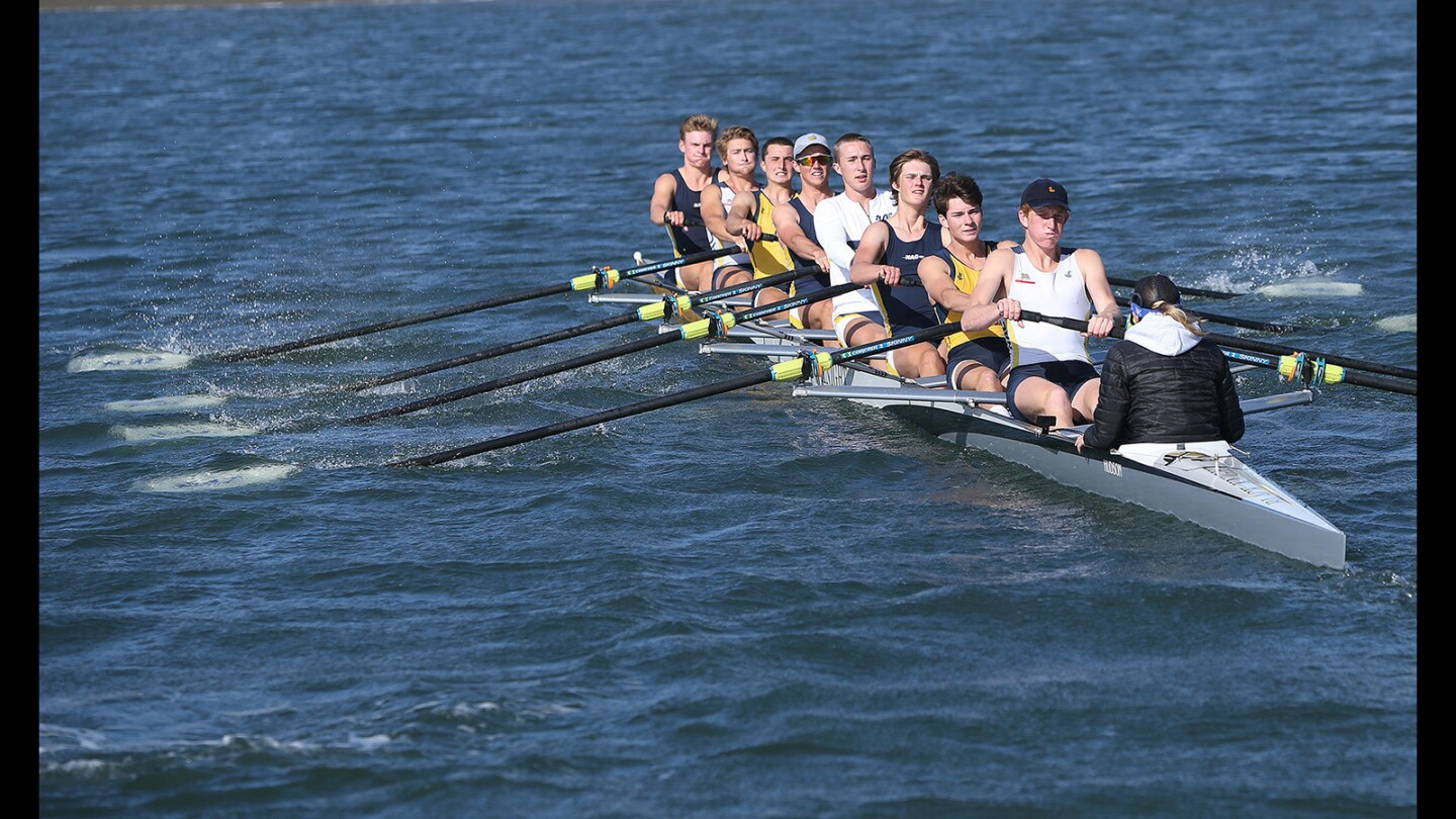 Photo Gallery: Newport Harbor Varsity 8 team row in practice