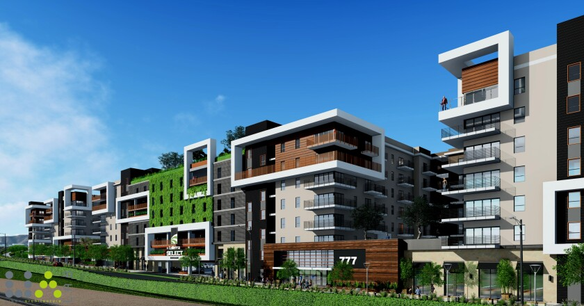 Rendering of LaTerra Burbank, a $375-million apartment and hotel complex approved for construction in Burbank.