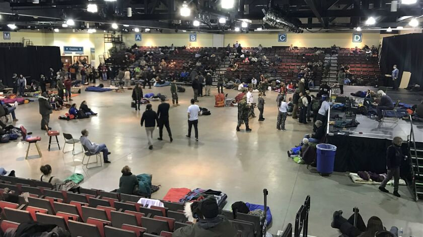 Veterans, Native Americans and others took refuge from a blizzard at a concert venue at the Prairie Knights Casino and Resort in Fort Yates, N.D.