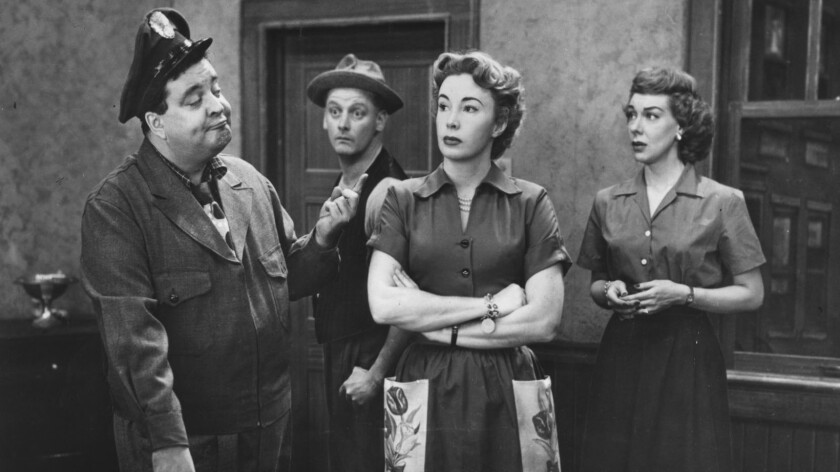 "Jackie Gleason, left, Art Carney, Audrey Meadows and Joyce Randolph in ""The Honeymooners"""