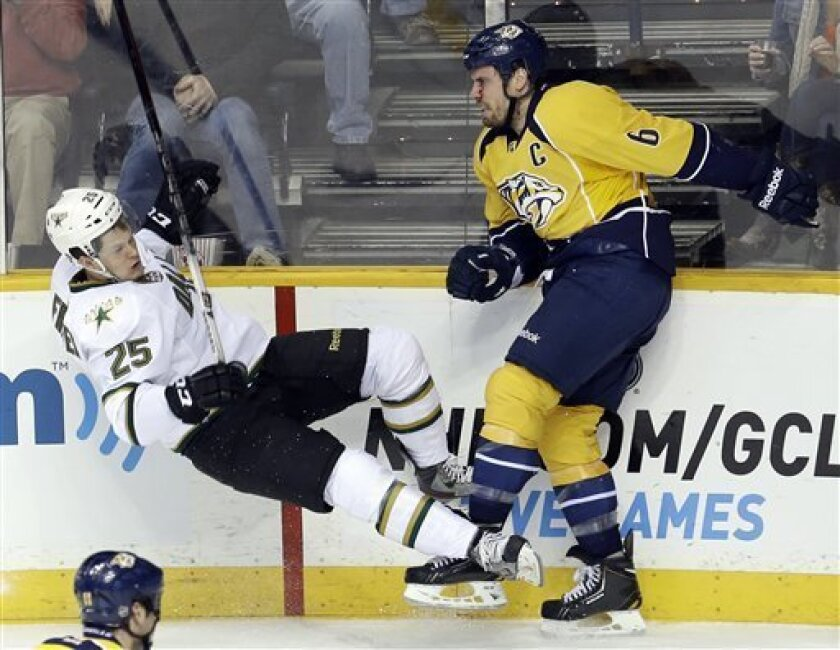 Nashville Predators defenseman Shea Weber (6) checks Dallas Stars left wing Matt Fraser (25) after Weber lost his stick in the second period of an NHL hockey game on Monday, Feb. 25, 2013, in Nashville, Tenn. (AP Photo/Mark Humphrey)