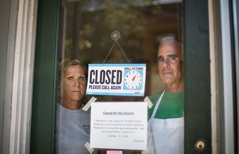 Chris and Steve Brophy, owners of Brickley's Ice Cream in Wakefield, R.I., closed their store.