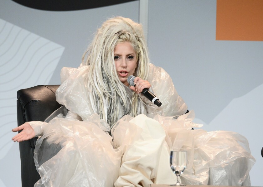 Lady Gaga speaks at the South by Southwest music festival in Austin, Texas.