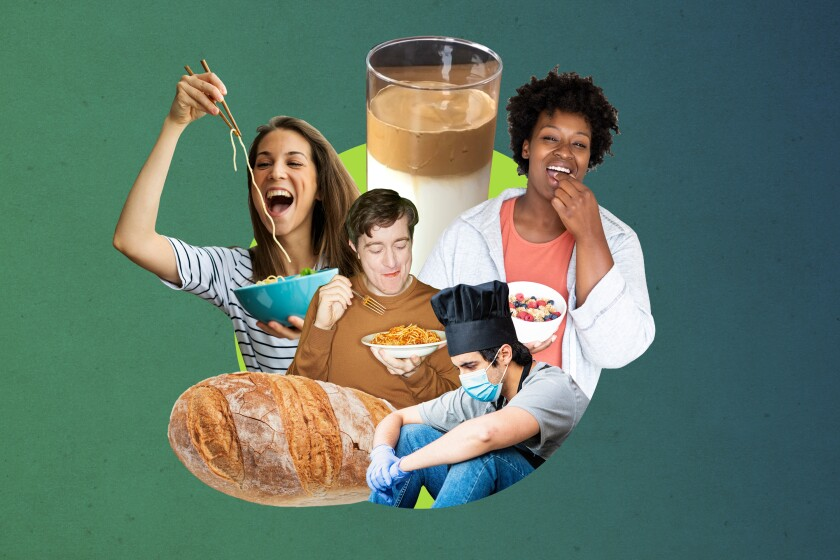 Photo collage of Dalgona coffee, a loaf of sourdough and people cooking
