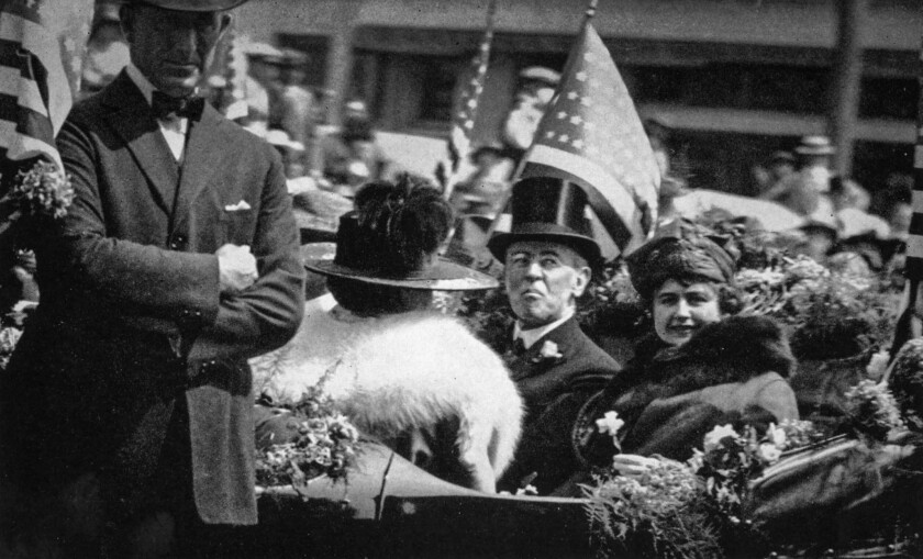Sept. 20, 1919: President Woodrow Wilson and his wife, Edith Wilson, participate in a parade through downtown Los Angeles.