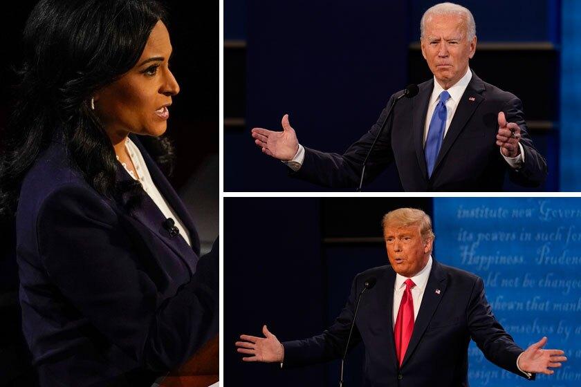 Moderator Kristen Welker questions President Trump and Democratic challenger Joe Biden during Thursday's debate.