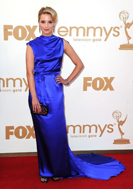 Dianna Agron in an elegant sapphire blue Roksanda Ilincic.