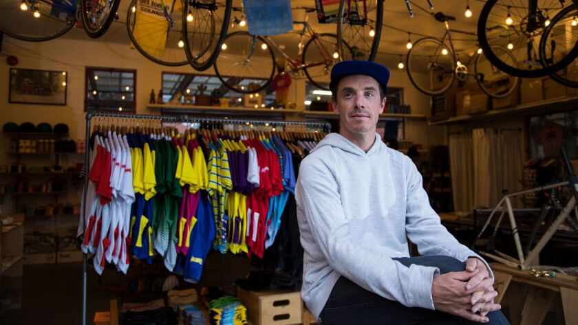 SAN MARINO, CA - JANUARY 3, 2018: Sean Talkington owner of Team Dream cycling apparel, runs his shop