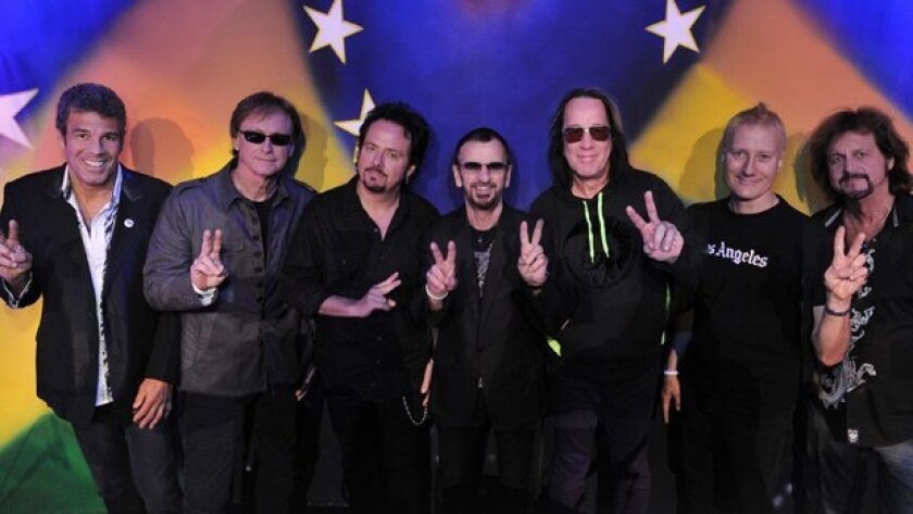 Ringo Starr and his All Starr Band will perform in Temecula Thursday, July 19, and San Diego on Friday. From left: Mark Rivera, Richard Page, Steve Lukather, Ringo Starr, Todd Rundgren, Gregg Bissonette and former Poway resident Gregg Rolie. Photo by Rob Shanahan