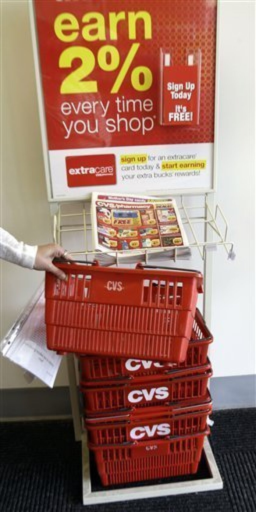FILE - In this May 3, 2010 file photo, a shopper picks up a basket at a CVS store in Brunswick, Maine. CVS Caremark said Wednesday, Nov. 3, 2010, its profit fell 20 percent in the third-quarter as its pharmacy benefit unit continued losing business. (AP Photo/Pat Wellenbach)