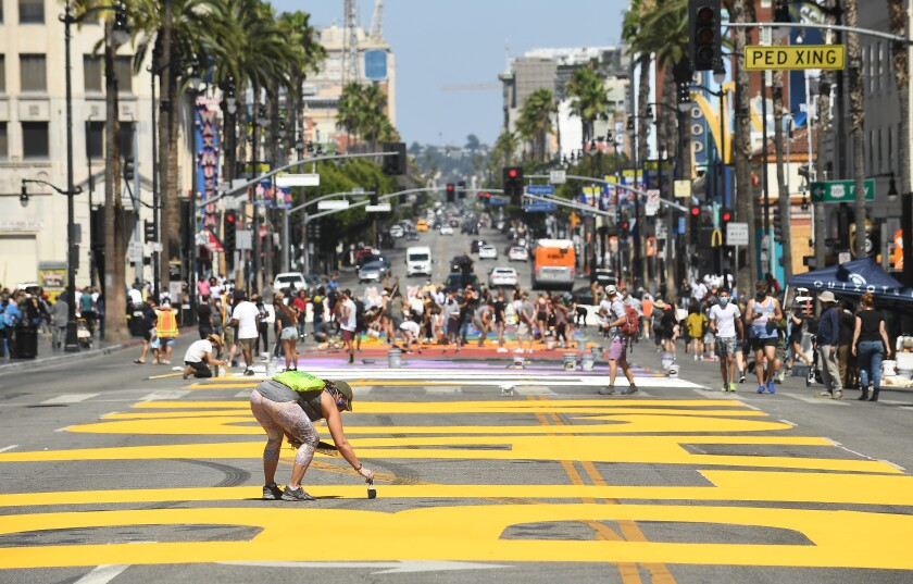 """""""All Black Lives Matter"""" is painted on Hollywood Boulevard"""