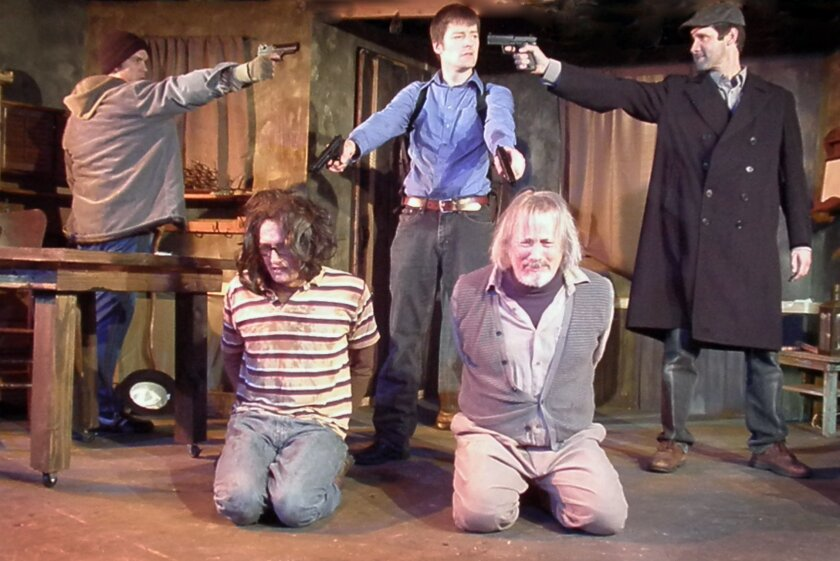 """Reed Willard, Ryan Kidd, Kyle Sorrell, Walter Ritter and Mike Jensen (left to right) in Ion Theatre's """"The Lieutenant of Inishmore."""""""