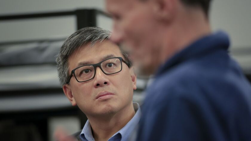 During a campaign stop in San Diego, John Chiang took a brief tour at the Veterans Emergency Shelter