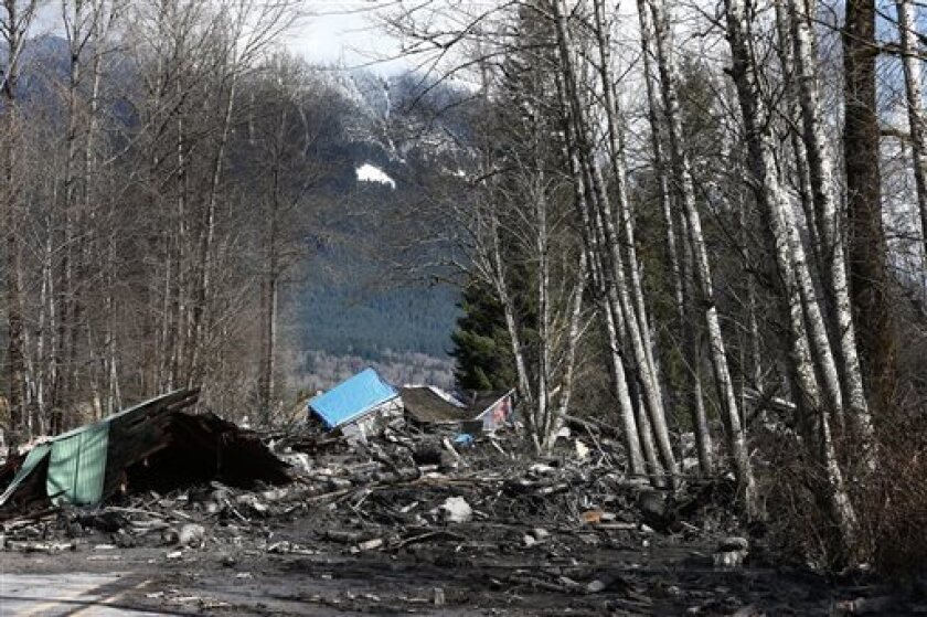 A house demolished by the Washington mudslide.