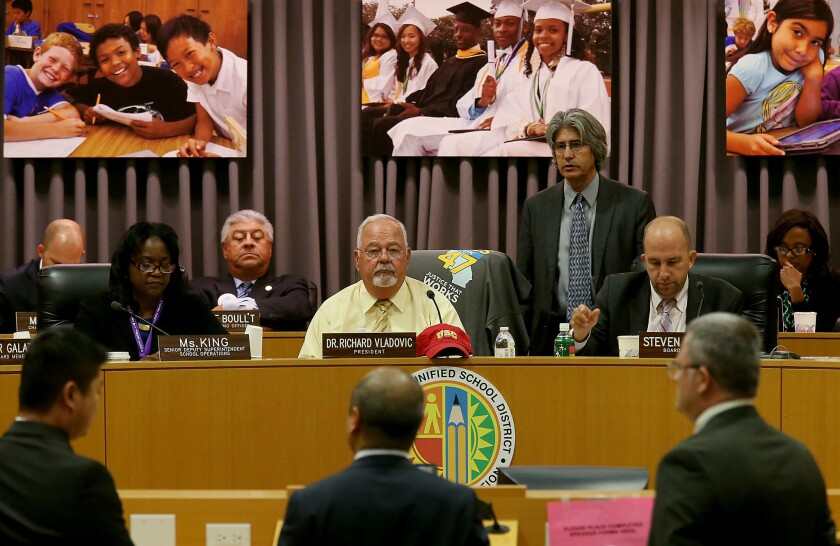 Members of the Los Angeles Unified School District board hold a meeting on Oct. 14, 2014 to hear proposals for resolving class-scheduling issues at Jefferson High School.