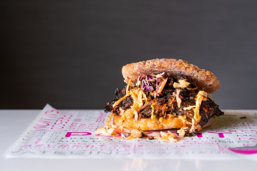 Ribe-eye teriyaki riceburger from Poke It in Hillcrest.