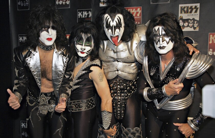 A 2008 photo shows a more recent incarnation of KISS: from left, Paul Stanley, Eric Singer, Gene Simmons and Tommy Thayer. The Rock and Roll Hall of Fame is choosing not to induct Singer and Thayer because they are not original members of the band.