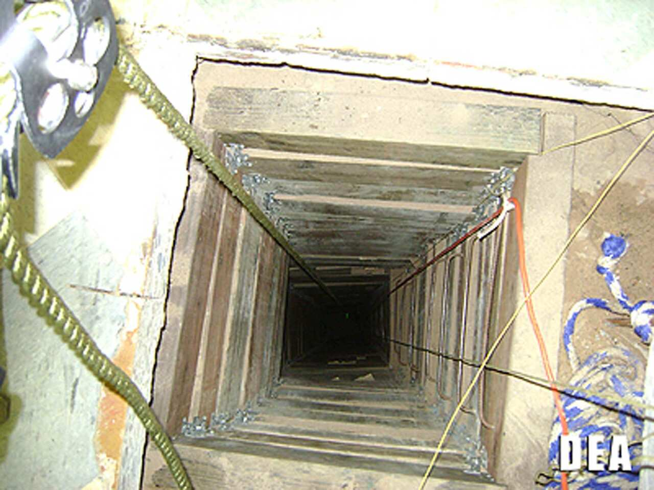 The tunnel shaft on the U.S. side descends 57 feet from a small, nondescript warehouse in San Luis, Ariz.