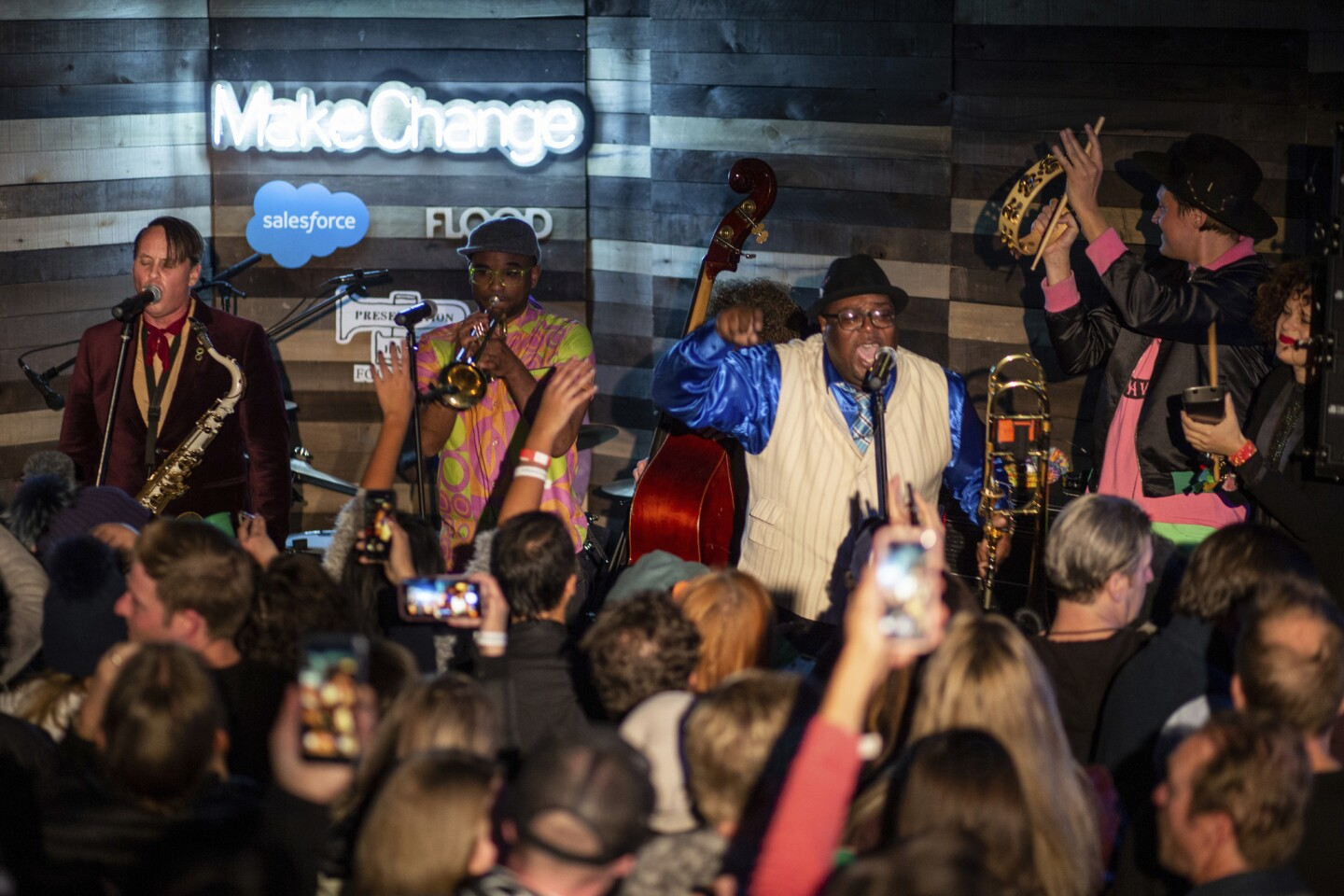 The Preservation Hall Jazz Band performs with Win Butler and Regine Chassagne of Arcade Fire at the Salesforce Music Lodge during the Sundance Film Festival.