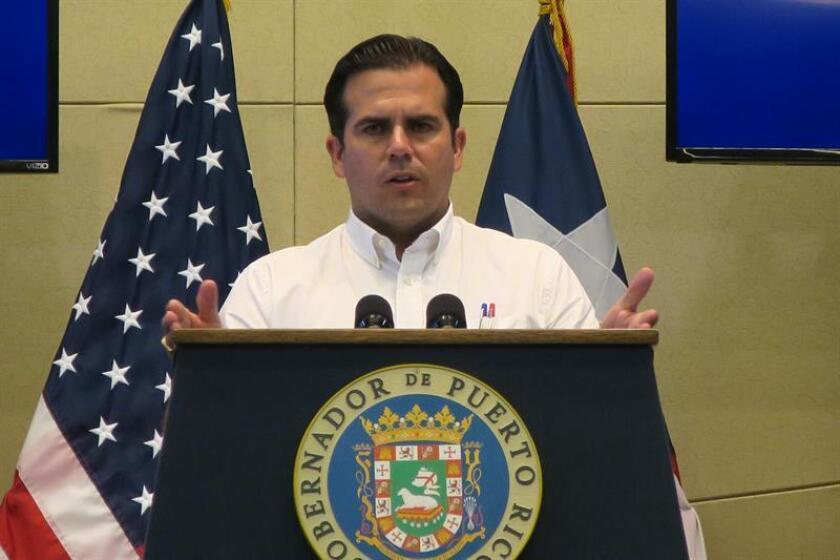 El gobernador de Puerto Rico, Ricardo Rosselló, habla durante su conferencia de prensa. EFE/Archivo
