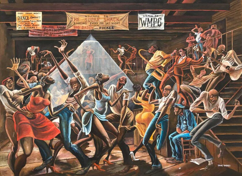 """The Sugar Shack"" is on view at CAAM as part of ""Ernie Barnes: A Retrospective"" at CAAM."