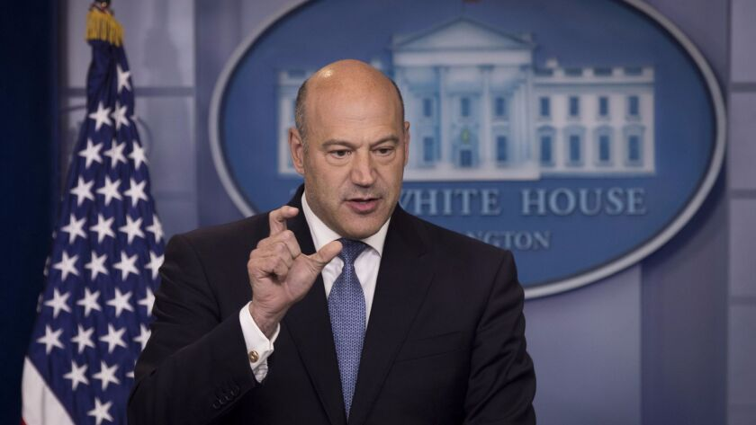 Gary Cohn, director of the White House National Economic Council, speaks to reporters about tax cuts on Sept. 28.