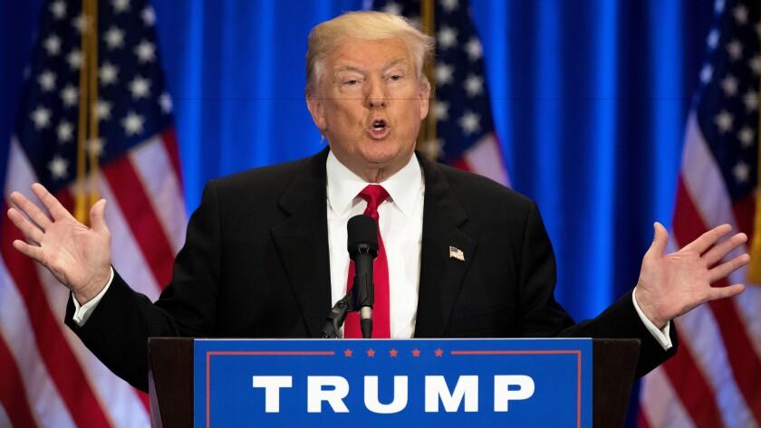 Donald Trump speaks Wednesday in New York.