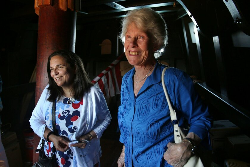 San Diego, CA June 16, 2016 | Wendy Kramer, left, a Canadian historian, has done research on explorer Juan Cabrillo that has upended previously held understandings about his origins. Monday she visited the San Salvador at the Maritime Museum in downtown San Diego with USD history professor Iris Engstrand. | Mandatory photo credit: Peggy Peattie / San Diego Union-Tribune